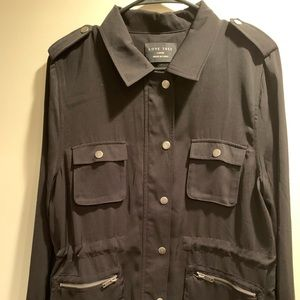 Cinched waist, black military style jacket